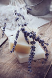 Natural soap, lavender, salt, cloth Stock Photos