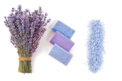Natural soap, lavender, salt on a wooden board, hygiene items for bath and spa. Stock Photos