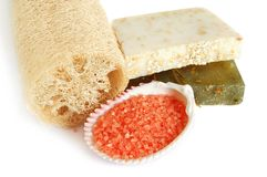 Natural soap and  loofah Stock Photography