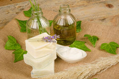 Natural soap and moisturizer Royalty Free Stock Photo
