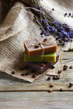 Natural Soap on napkin with a lavender Stock Images