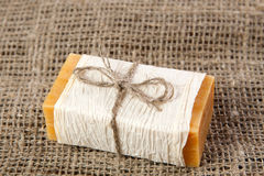 Natural soap on the natural rough fabric Royalty Free Stock Images