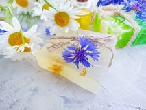 Natural soap, oil, daisy flower wellness , cornflower on a gray concrete background stock image