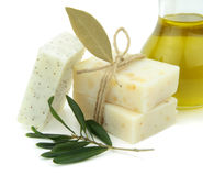Natural soap with olive oil, daphne and poppy seeds stock image