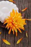 Natural soap with orange flower Royalty Free Stock Photography