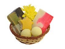 Natural soap in wicker basket Stock Photos