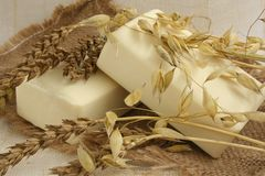 Natural soaps. Cut ears of wheat and oats and natural soaps Royalty Free Stock Photography