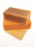 Natural Soaps. 3 bars of natural soap - goat milk, hemp seed oil, and glycerine royalty free stock photos
