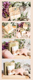 Natural Soaps Collage With Ceramic Shells Royalty Free Stock Images