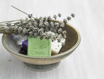 Natural soaps with lavender and olive Stock Photos