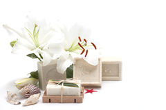 Natural soaps and sea shells on white Royalty Free Stock Image