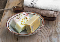Natural soaps with towels Stock Photo