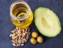 Natural source of vitamin E - sunflower seeds, olives, avocado, vegetable oil. Spain Stock Photography