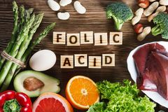 Natural sources of folic acid stock images