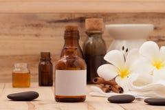 Natural Spa Aromatherapy και Natural Spa θέμα στο ξύλινο backgro Στοκ Εικόνα