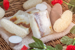 Natural spa beauty treatment products on tower in wicker basket Royalty Free Stock Images