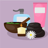 Natural Spa Center Icons. Relaxation procedures. Different items for relaxation procedures Royalty Free Stock Images