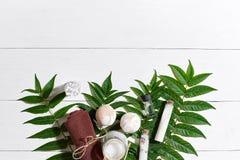 Natural spa en de aromatherapy producten van de skincareschoonheid met badkamerstoebehoren met inbegrip van het exfoliating schro stock foto's