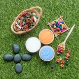 Natural Spa herbal and Beauty objects on green grass. Top view Royalty Free Stock Images