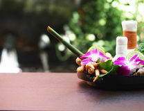 Natural Spa Ingredients for alternative medicine and relaxation Thai Spa theme with si Stock Photos