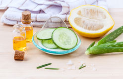 Natural Spa Ingredients cucumber Stock Images