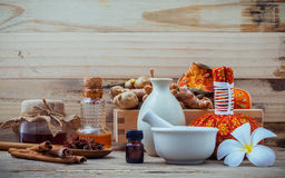 Natural Spa ingredients and herbal compress ball for alternative Royalty Free Stock Photography