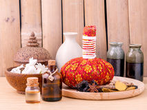 Natural Spa Ingredients herbal compress ball. royalty free stock photography