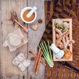Natural Spa Ingredients herbal compress ball and herbal  Ingredi Royalty Free Stock Photo