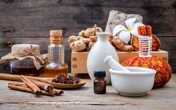 Natural Spa Ingredients herbal compress ball and herbal  Ingredi Royalty Free Stock Images