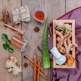 Natural Spa Ingredients herbal compress ball and herbal  Ingredi Stock Image