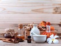 Natural Spa Ingredients herbal compress ball and herbal  Ingredi Royalty Free Stock Image