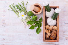 Natural Spa Ingredients . The herbal compress ball and massage o Royalty Free Stock Photo