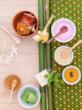 Natural Spa Ingredients . Natural Spa Ingredients sea salt , tanaka , aloe vera and honey  for alternative skin care Thai Spa theme with bamboo background Stock Photos