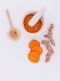 Natural Spa Ingredients turmeric and honey . Stock Image