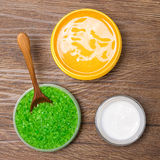Natural spa and pampering products on wooden surface Royalty Free Stock Image