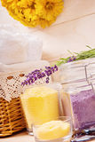 Natural spa setting with bath salt and towel. A shoot of various spa tools royalty free stock photo
