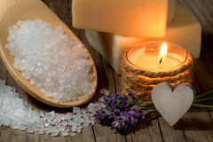 Natural spa setting with lavender and candle Stock Photos