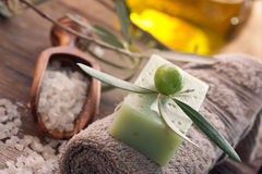 Natural spa setting with olive oil. Stock Photo