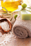Natural spa setting with olive oil. Royalty Free Stock Images