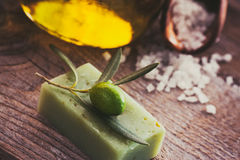 Natural spa setting with olive oil. Royalty Free Stock Image