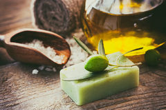 Natural spa setting with olive oil. Stock Image