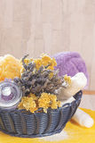 Natural spa treatment with lavender and helichrysum (immortelle) Stock Image