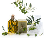 Natural Spa Treatment with olives and olive oil Royalty Free Stock Photos