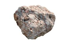 Natural specimen of conglomerate - sedimentary rock composed of rounded or sub-rounded gravel and pebbles cemented by calcium. Carbonate, isolated on white royalty free stock photo