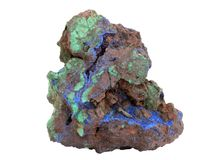 Natural sample of Malachite green and Azurite blue minerals in the limonite-goethite rock on white background. Natural specimen of Malachite green and Azurite royalty free stock image