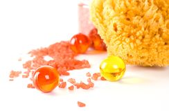 Natural sponge, bath salt and oil balls Royalty Free Stock Photography