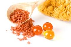 Natural sponge, bath salt and oil balls Stock Photo