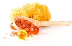 Natural sponge, bath salt and oil balls Royalty Free Stock Photos