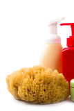 Natural sponge and cosmetics Royalty Free Stock Image