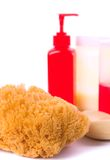 Natural sponge, soap and body lotion Royalty Free Stock Photo